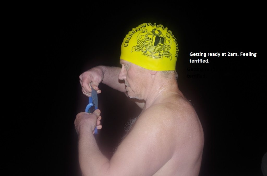 Peter Tucker about to swim the English Channel 21 August 2019